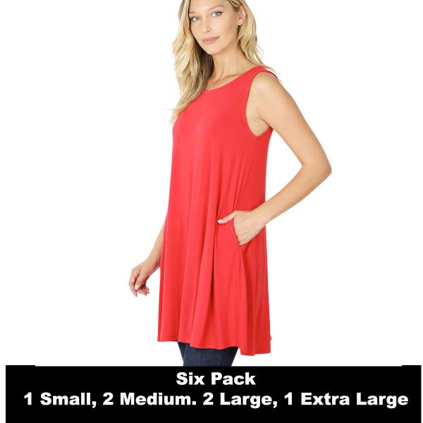 Wholesale Tops - Round Neck Sleeveless Tunic w/Pockets 9926P  RUBY SIX PACK Round Neck Sleeveless Tunic w/ Pockets 9926P (1S/2M/2L/1XL) - 1 Small, 2 Medium, 2 Large, 1 Extra Large