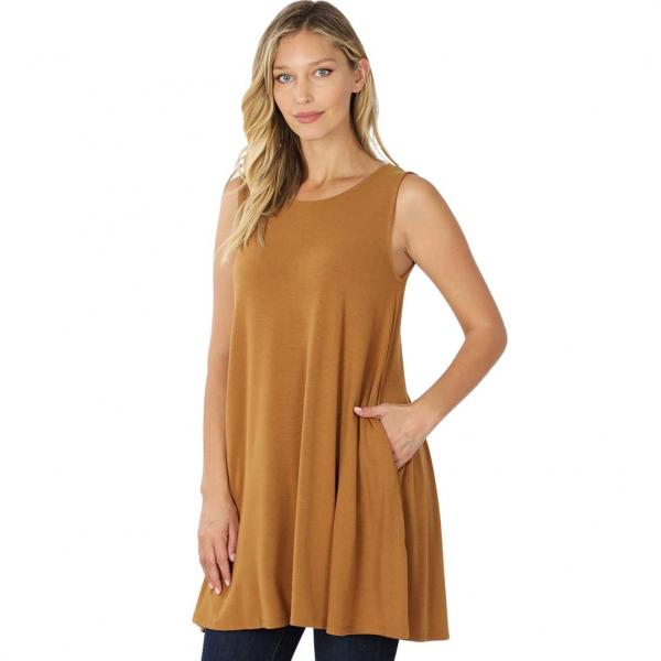 Wholesale Tops - Round Neck Sleeveless Tunic w/Pockets 9926P COFFEE - Round Neck Sleeveless Tunic w/ Pockets 9926P - Large