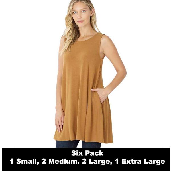 Wholesale Tops - Round Neck Sleeveless Tunic w/Pockets 9926P  COFFEE SIX PACK Round Neck Sleeveless Tunic w/ Pockets 9926P (1S/2M/2L/1XL) - 1 Small, 2 Medium, 2 Large, 1 Extra Large