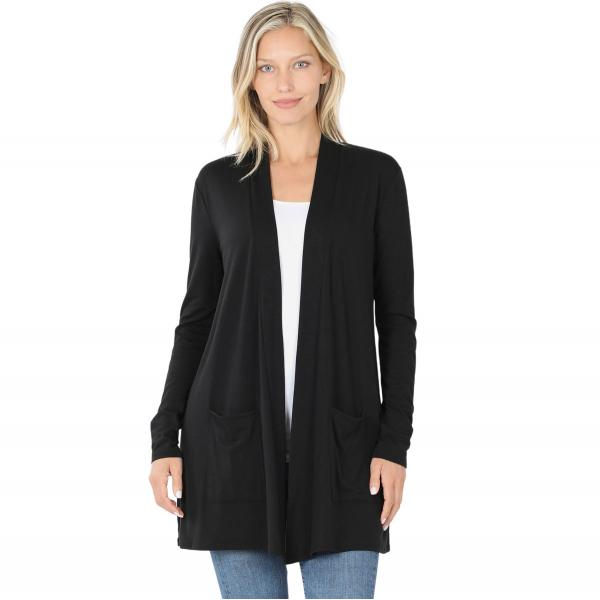 Wholesale Slouchy Pocket Open Cardigan 1443 BLACK Slouchy Pocket Open Cardigan 1443  - Medium