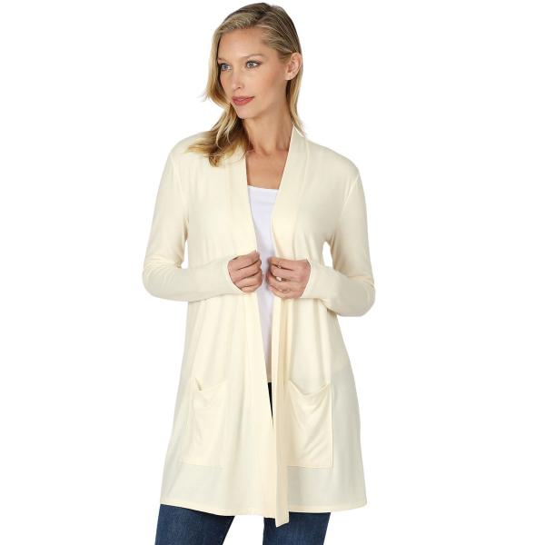 Wholesale Slouchy Pocket Open Cardigan 1443 CREAM Slouchy Pocket Open Cardigan 1443  - Medium