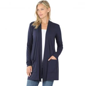 Wholesale  NAVY Slouchy Pocket Open Cardigan 1443  - Small