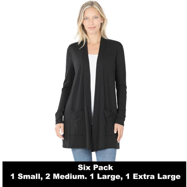 Wholesale Slouchy Pocket Open Cardigan 1443  BLACK SIX PACK Slouchy Pocket Open Cardigan 1443 (1S/1M/2L/2XL) - 1 Small 1 Medium 2 Large 2 Extra Large