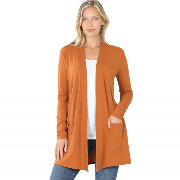 Wholesale Slouchy Pocket Open Cardigan 1443 ALMOND Slouchy Pocket Open Cardigan 1443  - Large