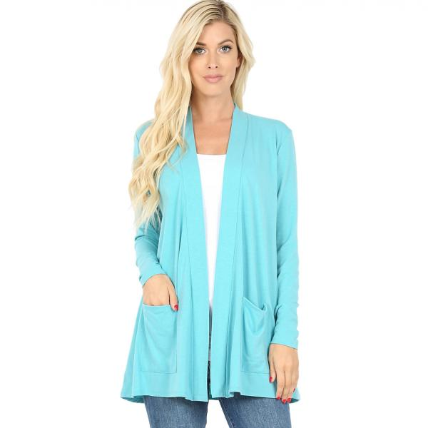 Wholesale Slouchy Pocket Open Cardigan 1443 ASH MINT Slouchy Pocket Open Cardigan 1443  - Large