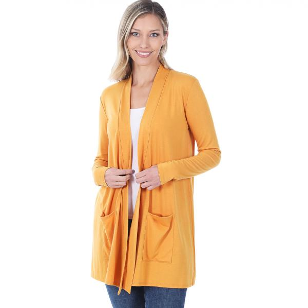 Wholesale Slouchy Pocket Open Cardigan 1443 ASH MUSTARD Slouchy Pocket Open Cardigan 1443  - Small