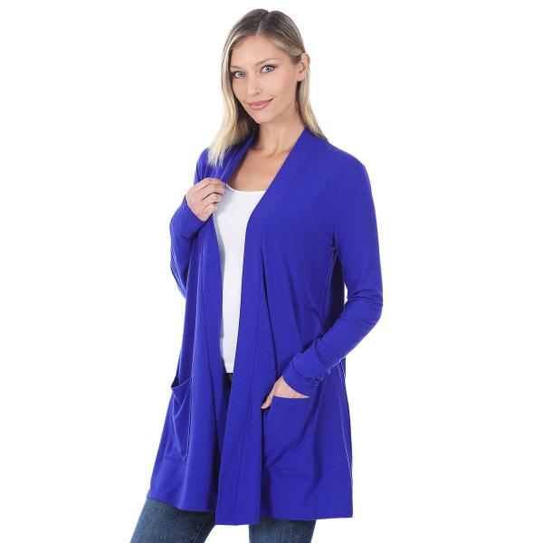 Wholesale Slouchy Pocket Open Cardigan 1443 BRIGHT BLUE Slouchy Pocket Open Cardigan 1443  - Medium