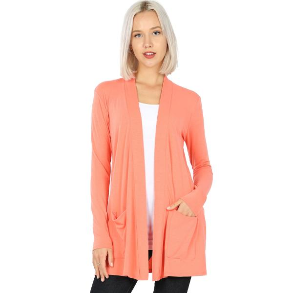 Wholesale Slouchy Pocket Open Cardigan 1443 DEEP CORAL Slouchy Pocket Open Cardigan 1443  - Small