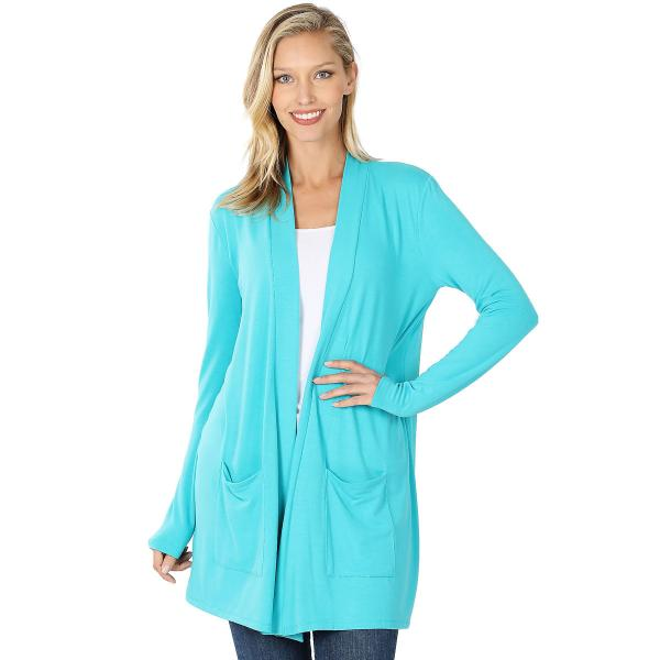 Wholesale Slouchy Pocket Open Cardigan 1443 ICE BLUE Slouchy Pocket Open Cardigan 1443  - Medium