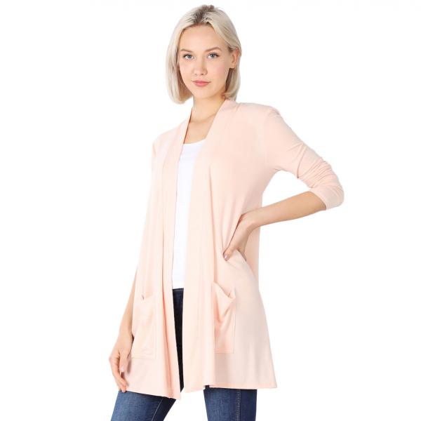 Wholesale Slouchy Pocket Open Cardigan 1443 LIGHT PEACH Slouchy Pocket Open Cardigan 1443  - Small