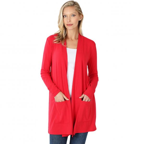 Wholesale Slouchy Pocket Open Cardigan 1443 RUBY Slouchy Pocket Open Cardigan 1443  - Medium