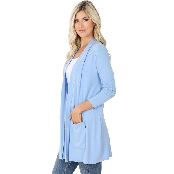 Wholesale Slouchy Pocket Open Cardigan 1443 SPRING BLUE Slouchy Pocket Open Cardigan 1443  - Large