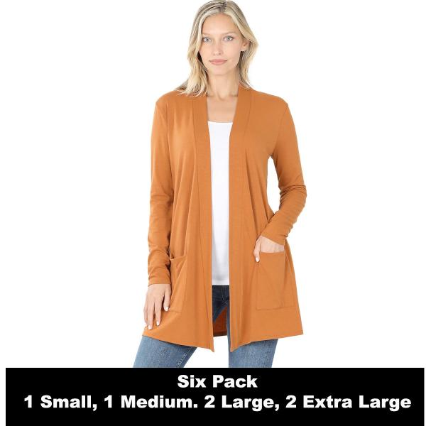 Wholesale Slouchy Pocket Open Cardigan 1443  ALMOND SIX PACK Slouchy Pocket Open Cardigan 1443 (1S/1M/2L/2XL) - 1 Small 1 Medium 2 Large 2 Extra Large