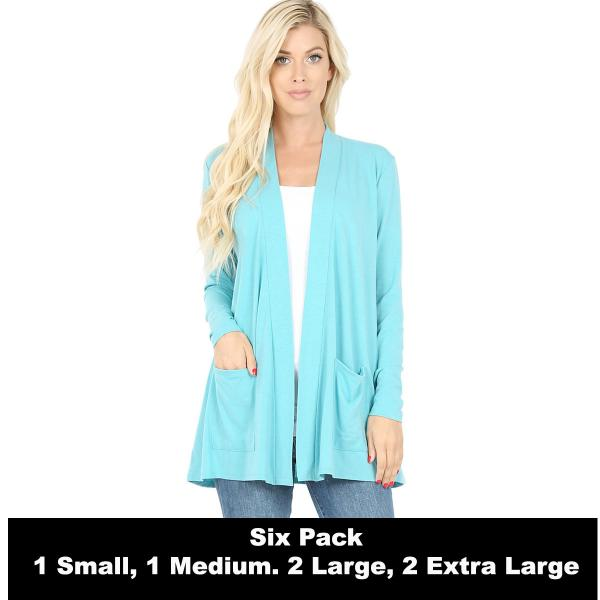 Wholesale Slouchy Pocket Open Cardigan 1443  ASH MINT SIX PACK Slouchy Pocket Open Cardigan 1443 (1S/1M/2L/2XL) - 1 Small 1 Medium 2 Large 2 Extra Large
