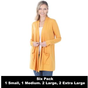 Wholesale   ASH MUSTARD SIX PACK Slouchy Pocket Open Cardigan 1443 (1S/1M/2L/2XL) - 1 Small 1 Medium 2 Large 2 Extra Large