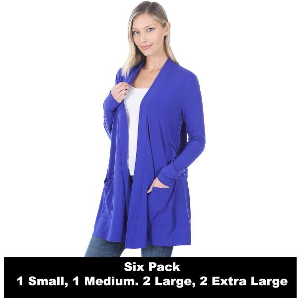 Wholesale Slouchy Pocket Open Cardigan 1443  BRIGHT BLUE SIX PACK Slouchy Pocket Open Cardigan 1443 (1S/1M/2L/2XL) - 1 Small 1 Medium 2 Large 2 Extra Large