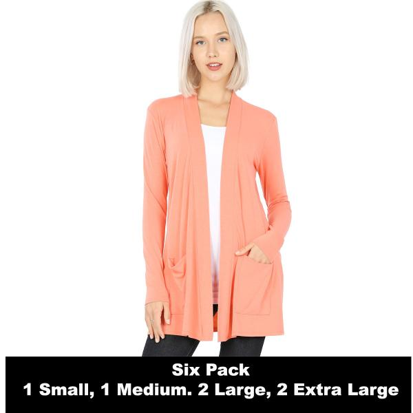 Wholesale Slouchy Pocket Open Cardigan 1443  DEEP CORAL SIX PACK Slouchy Pocket Open Cardigan 1443 (1S/1M/2L/2XL) - 1 Small 1 Medium 2 Large 2 Extra Large