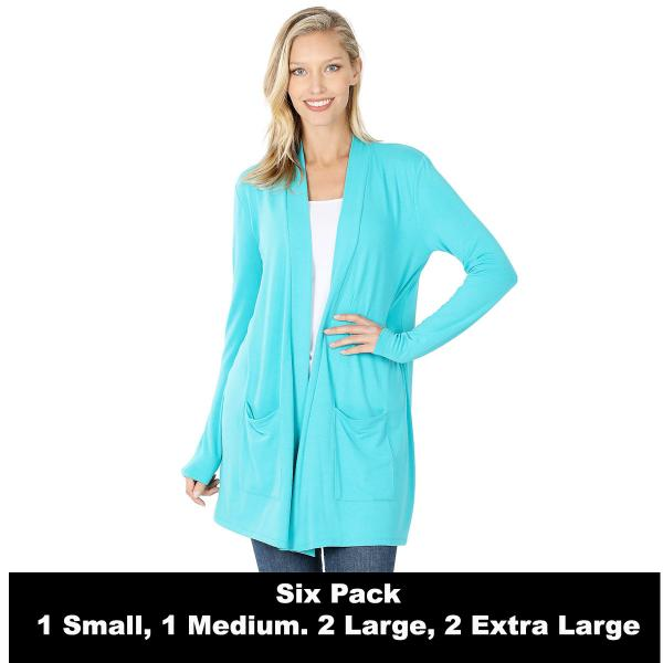 Wholesale Slouchy Pocket Open Cardigan 1443  ICE BLUE SIX PACK Slouchy Pocket Open Cardigan 1443 (1S/1M/2L/2XL) - 1 Small 1 Medium 2 Large 2 Extra Large
