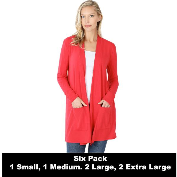 Wholesale Slouchy Pocket Open Cardigan 1443  RUBY SIX PACK Slouchy Pocket Open Cardigan 1443 (1S/1M/2L/2XL) - 1 Small 1 Medium 2 Large 2 Extra Large