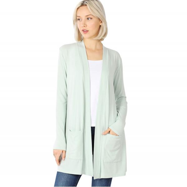 Wholesale Slouchy Pocket Open Cardigan 1443 LIGHT MOSS Slouchy Pocket Open Cardigan 1443  - Small
