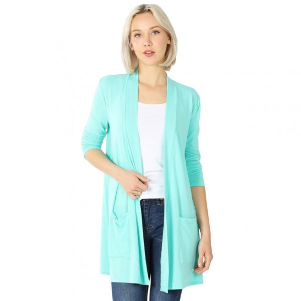 Wholesale Slouchy Pocket Open Cardigan 1443 MINT Slouchy Pocket Open Cardigan 1443  - Large