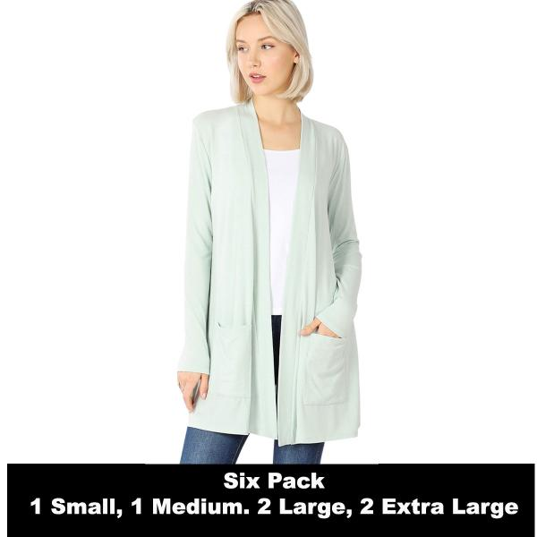 Wholesale Slouchy Pocket Open Cardigan 1443  LIGHT MOSS SIX PACK Slouchy Pocket Open Cardigan 1443 (1S/1M/2L/2XL) - 1 Small 1 Medium 2 Large 2 Extra Large