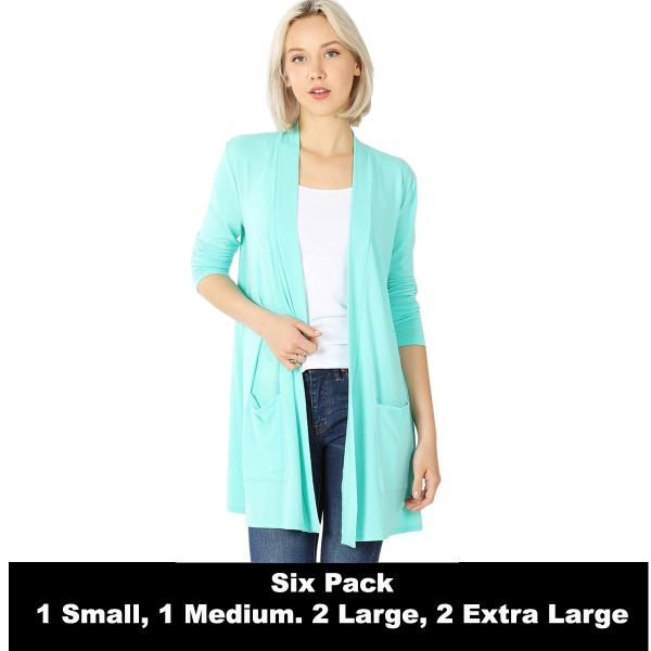 Wholesale Slouchy Pocket Open Cardigan 1443  MINT SIX PACK Slouchy Pocket Open Cardigan 1443 (1S/1M/2L/2XL) - 1 Small 1 Medium 2 Large 2 Extra Large
