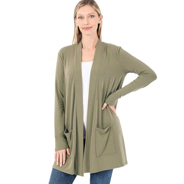 Wholesale Slouchy Pocket Open Cardigan 1443 KHAKI Slouchy Pocket Open Cardigan 1443  - Small