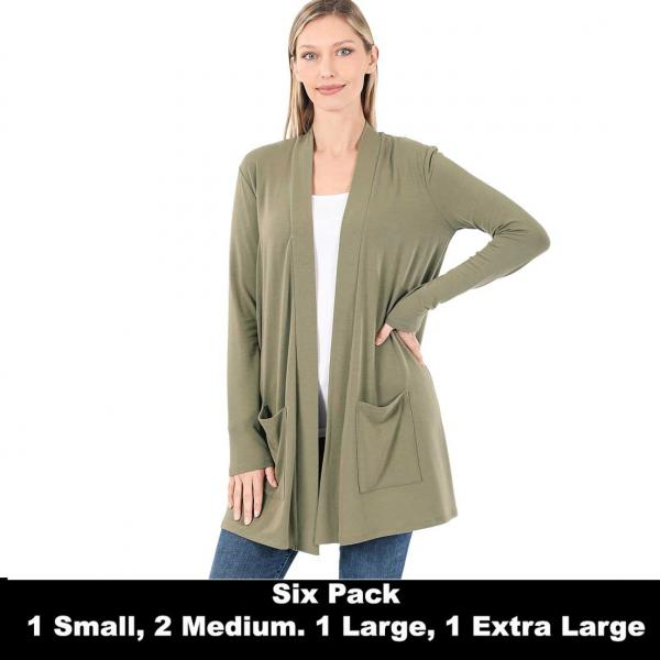 Wholesale Slouchy Pocket Open Cardigan 1443  KHAKI SIX PACK Slouchy Pocket Open Cardigan 1443 (1S/1M/2L/2XL) - 1 Small 1 Medium 2 Large 2 Extra Large
