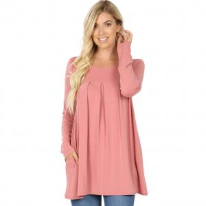 Wholesale  DUSTY ROSE (SIX PACK) Long Sleeve Round Neck Pleated 1658 (1S/1M/2L/2X)L - 1 Small 1 Medium 2 Large 2 Extra Large