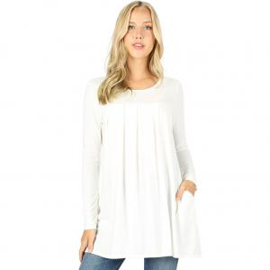 Wholesale  IVORY Long Sleeve Round Neck Pleated 1658 - X-Large