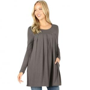 Wholesale  ASH GREY (SIX PACK) Long Sleeve Round Neck Pleated 1658 (1S/1M/2L/2X)L - 1 Small 1 Medium 2 Large 2 Extra Large