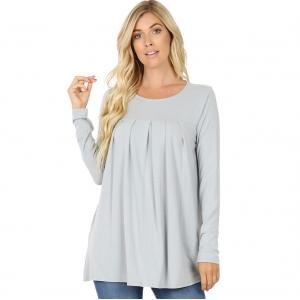 Wholesale  LIGHT GREY (SIX PACK) Long Sleeve Round Neck Pleated 1658 (1S/1M/2L/2X)L - 1 Small 1 Medium 2 Large 2 Extra Large