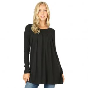 Wholesale  BLACK (SIX PACK) Long Sleeve Round Neck Pleated 1658 (1S/1M/2L/2X)L - 1 Small 1 Medium 2 Large 2 Extra Large