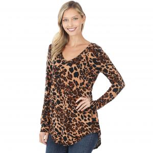 Wholesale  Brown Tones Leopard Print Long Sleeve V-neck Hi-Lo Hem 45016 - 1 Small 1 Medium 2 Large 2 Extra Large