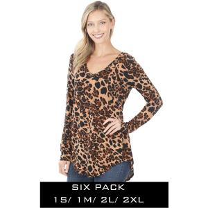 Wholesale   LEOPARD (SIX PACK) Print Long Sleeve V-neck Hi-Lo Hem 45016 (1S/1M/2L/2XL) - 1 Small 1 Medium 2 Large 2 Extra Large