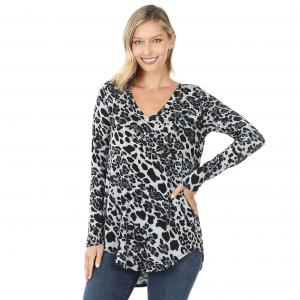 Wholesale  Grey Tones Leopard Print Long Sleeve V-neck Hi-Lo Hem 45016 - 1 Small 1 Medium 2 Large 2 Extra Large
