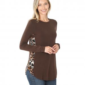 Wholesale  BROWN - Leopard Print Side Panel Long Sleeve 43023 - Large
