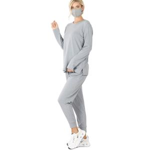 Wholesale  HEATHER GREY 3 PC SET Pants/Top/Mask 32015 - Large