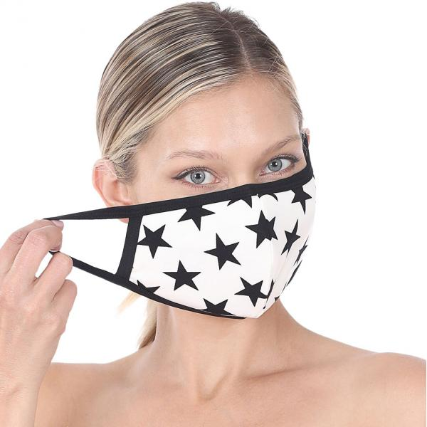 wholesale Protective Masks - Cotton Blend Two Ply CMK/CPMK IVORY BLACK STARS Protective Mask - Two Ply CPMK 106 -