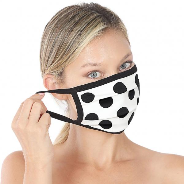 wholesale Protective Masks - Cotton Blend Two Ply CMK/CPMK IVORY BLACK POLKA DOT Protective Mask - Two Ply CPMK 508 -