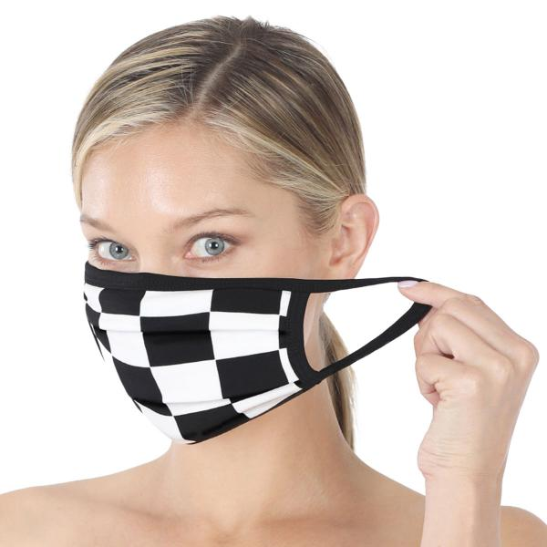 wholesale Protective Masks - Cotton Blend Two Ply CMK/CPMK BLACK WHITE CHECKERBOARD Protective Mask - Two Ply CPMK 507 -