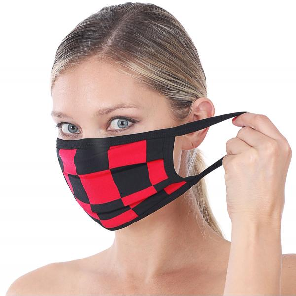 wholesale Protective Masks - Cotton Blend Two Ply CMK/CPMK RUBY BLACK CHECKERBOARD Protective Mask - Two Ply CPMK 507 -