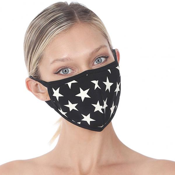 wholesale Protective Masks - Cotton Blend Two Ply CMK/CPMK BLACK IVORY STARS Protective Mask - Two Ply CPMK 106 -
