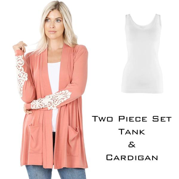 Wholesale Cardigan Set - Lace Patch Slouchy Pocket 1446 ASH ROSE Cardigan Set - Lace Patch Slouchy Pocket 1446 - X-Large