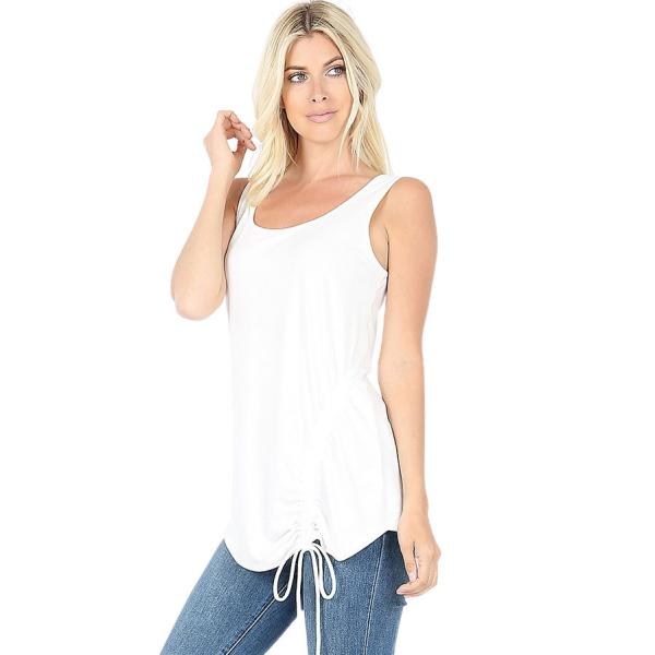 Wholesale Tops - Sleeveless Round Neck Side Ruched 1877 IVORY Top - Sleeveless Round Neck Side Ruched 1877 - Large