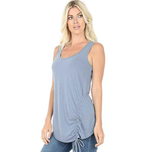 Wholesale Tops - Sleeveless Round Neck Side Ruched 1877 CEMENT Top - Sleeveless Round Neck Side Ruched 1877 - X-Large