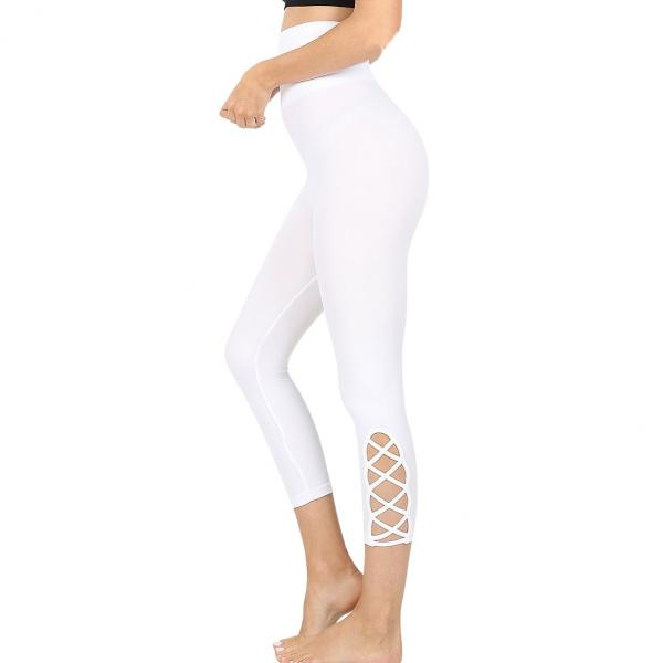 Wholesale Leggings - White Lattice-Hem High Waist Capri 5658 White Lattice-Hem High Waist Capri 5658 - L-XL