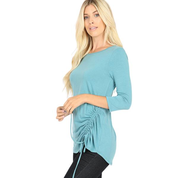 Wholesale Tops - 3/4 Sleeve Round Neck Side Ruched 1887 DUSTY TEAL 3/4 Sleeve Round Neck Side Ruched 1887 - Small