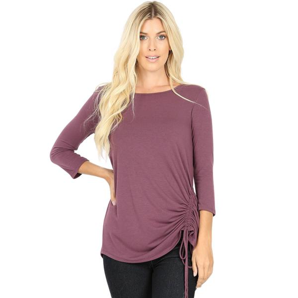 Wholesale Tops - 3/4 Sleeve Round Neck Side Ruched 1887 EGGPLANT 3/4 Sleeve Round Neck Side Ruched 1887 - Small